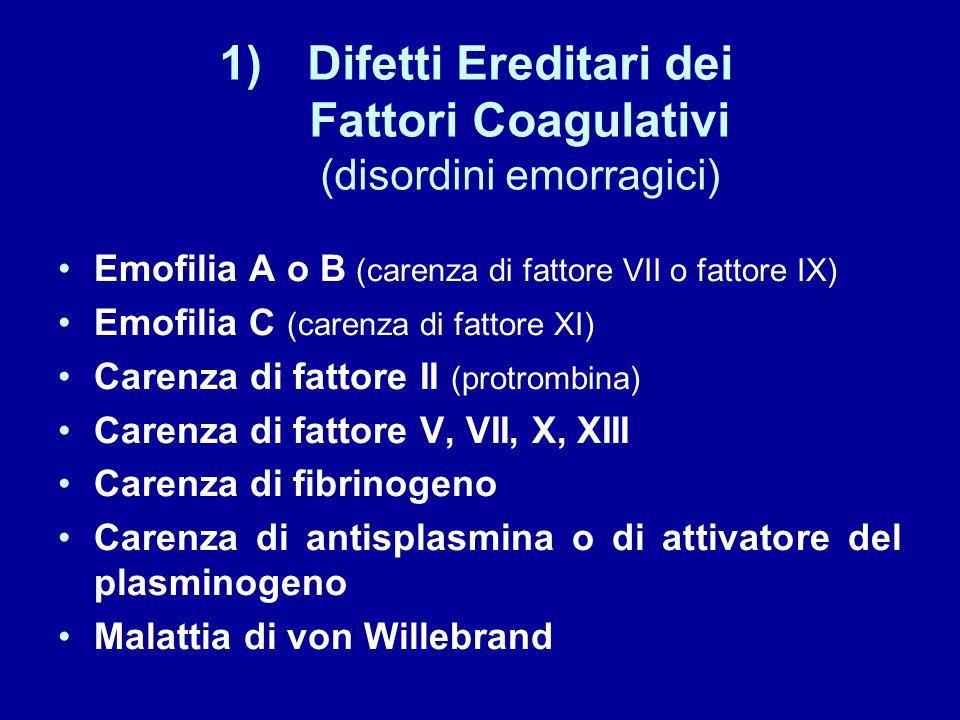 1)Difetti Ereditari dei Fattori Coagulativi (disordini emorragici) Emofilia A o B (carenza di fattore VII o fattore IX) Emofilia C (carenza di fattore XI) Carenza di fattore II (protrombina) Carenza di fattore V, VII, X, XIII Carenza di fibrinogeno Carenza di antisplasmina o di attivatore del plasminogeno Malattia di von Willebrand