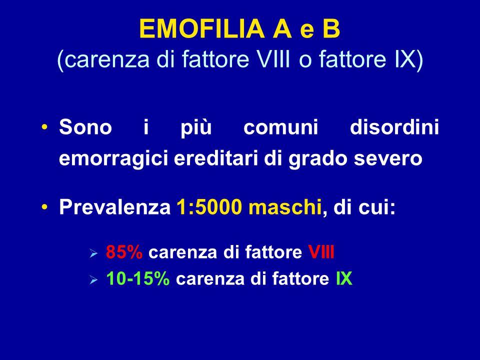 EMOFILIA A e B (carenza di fattore VIII o fattore IX) Sono i più comuni disordini emorragici ereditari di grado severo Prevalenza 1:5000 maschi, di cui:  85% carenza di fattore VIII  10-15% carenza di fattore IX