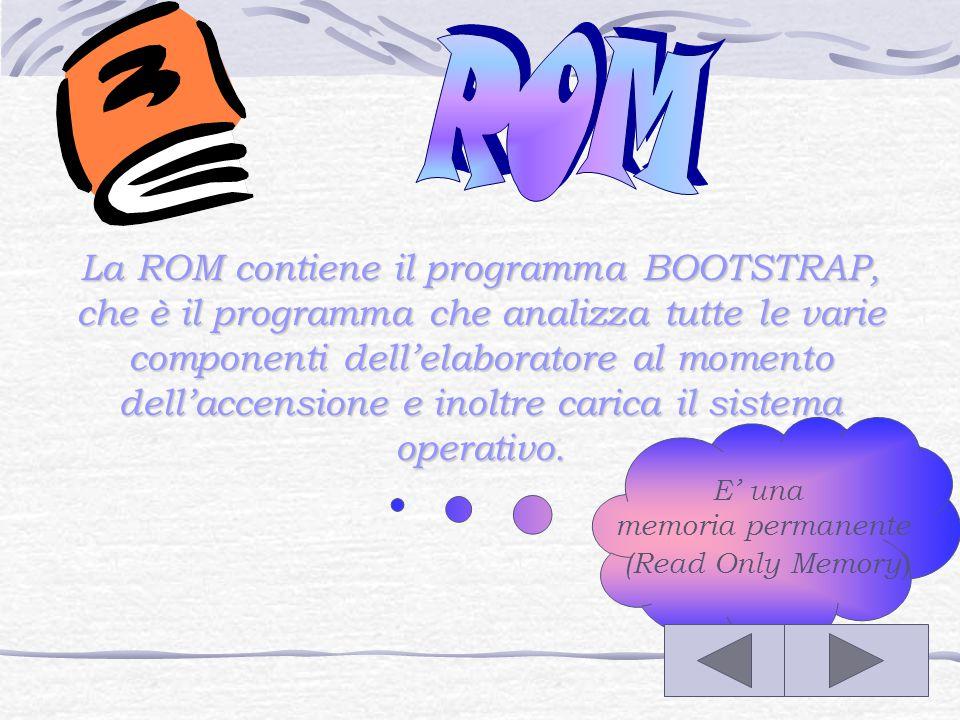 La RAM è un'area di memoria volatile che rimane attiva solo finché l'elaboratore è acceso, dato che allo spegnimento del computer le informazioni contenute nella RAM vengono cancellate.