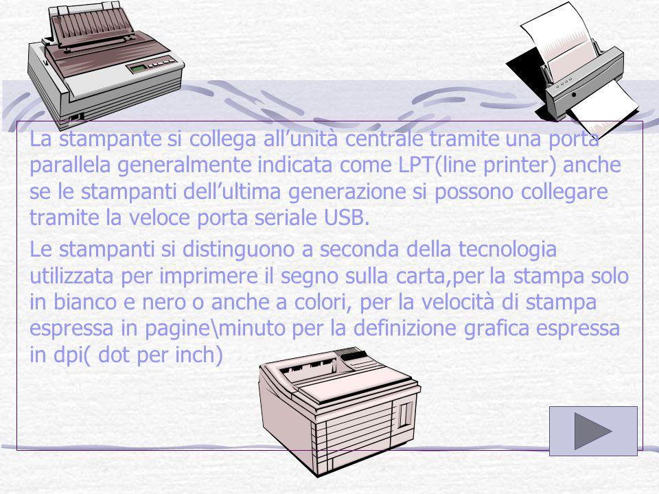 LA STAMPANTE La stampante riporta su carta il risultato dell'elaborazione.