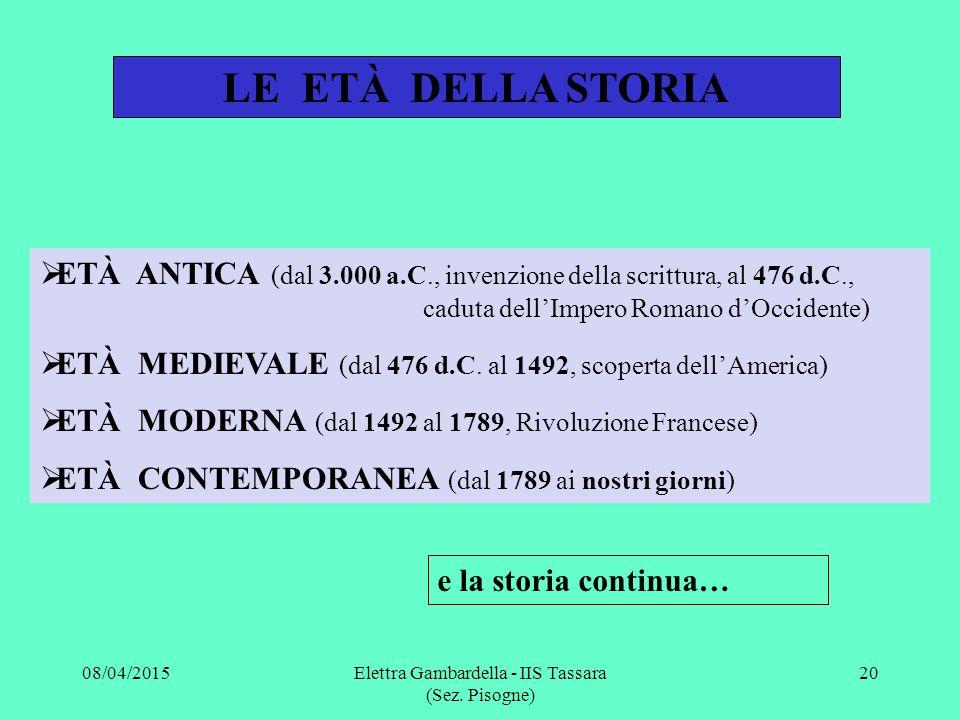 LE ETÀ DELLA STORIA  ETÀ ANTICA (dal 3.000 a.C., invenzione della scrittura, al 476 d.C., caduta dell'Impero Romano d'Occidente)  ETÀ MEDIEVALE (dal