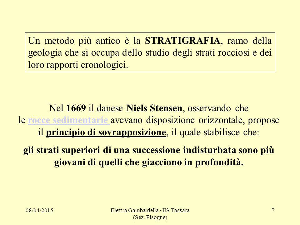 Un metodo più antico è la STRATIGRAFIA, ramo della geologia che si occupa dello studio degli strati rocciosi e dei loro rapporti cronologici. Nel 1669
