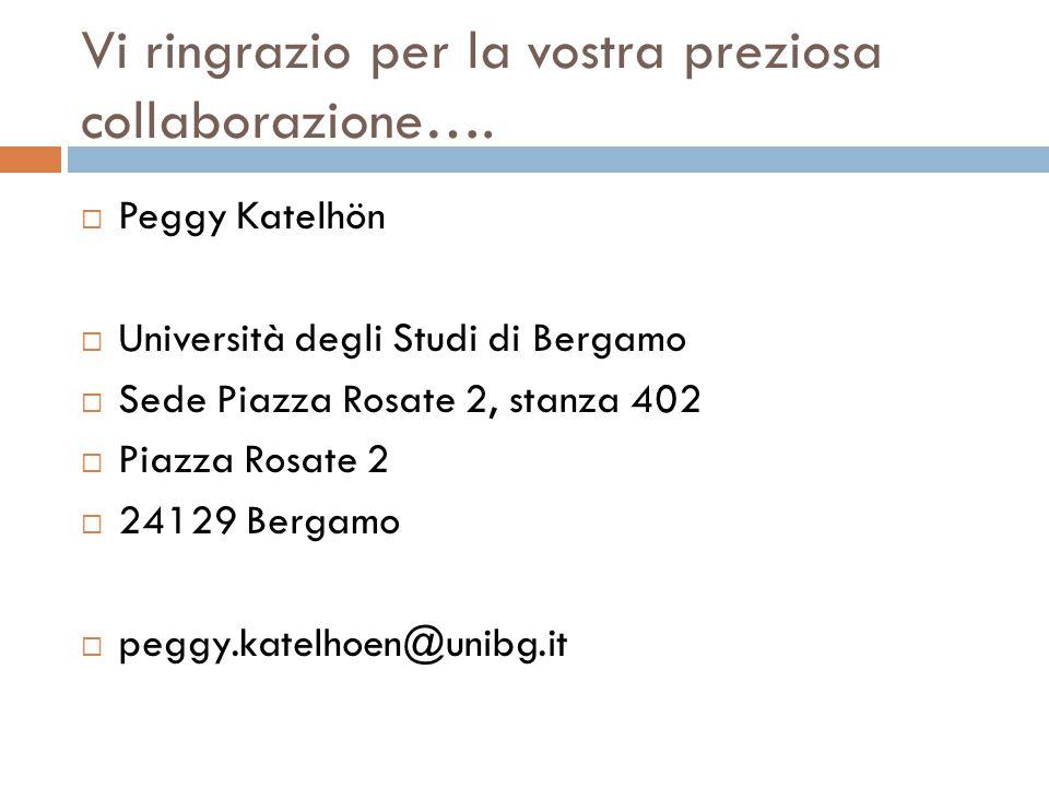 Vi ringrazio per la vostra preziosa collaborazione….  Peggy Katelhön  Università degli Studi di Bergamo  Sede Piazza Rosate 2, stanza 402  Piazza
