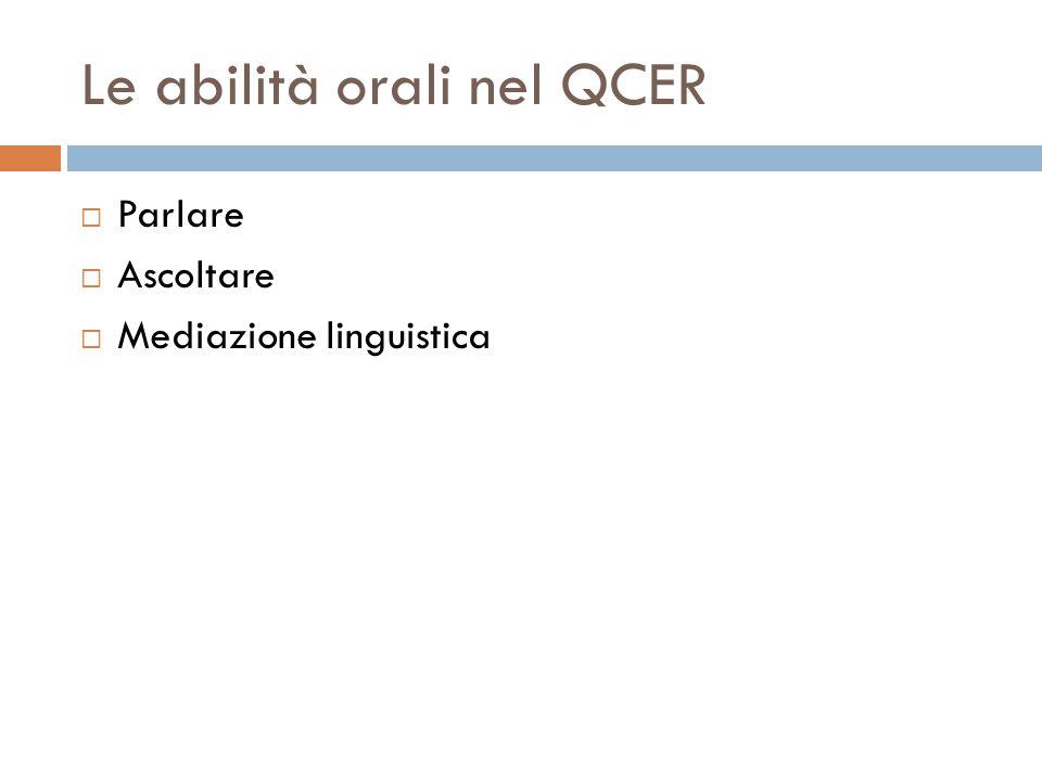 Le abilità orali nel QCER  Parlare  Ascoltare  Mediazione linguistica
