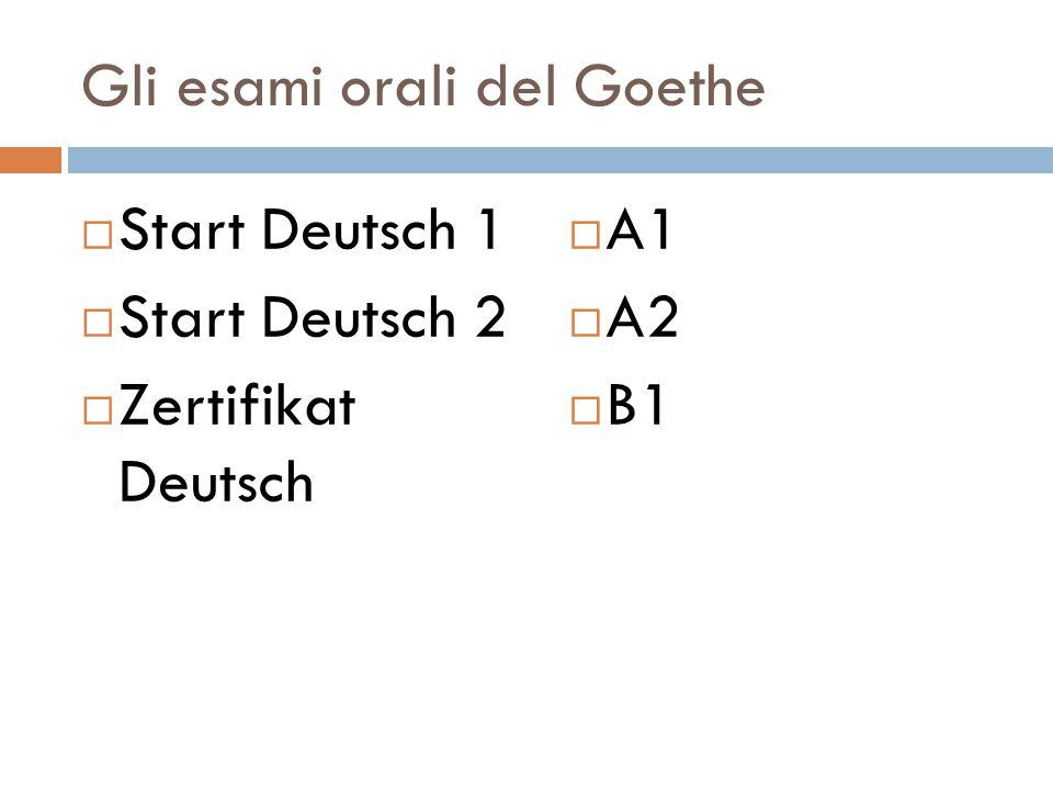 Gli esami orali del Goethe  Start Deutsch 1  Start Deutsch 2  Zertifikat Deutsch  A1  A2  B1