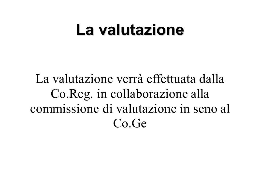 La valutazione La valutazione verrà effettuata dalla Co.Reg.