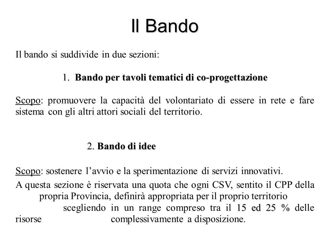 Il Bando Il bando si suddivide in due sezioni: 1.