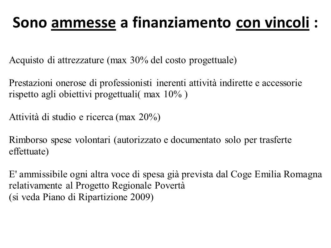 Sono ammesse a finanziamento con vincoli : Acquisto di attrezzature (max 30% del costo progettuale) Prestazioni onerose di professionisti inerenti attività indirette e accessorie rispetto agli obiettivi progettuali( max 10% ) Attività di studio e ricerca (max 20%) Rimborso spese volontari (autorizzato e documentato solo per trasferte effettuate) E ammissibile ogni altra voce di spesa già prevista dal Coge Emilia Romagna relativamente al Progetto Regionale Povertà (si veda Piano di Ripartizione 2009)
