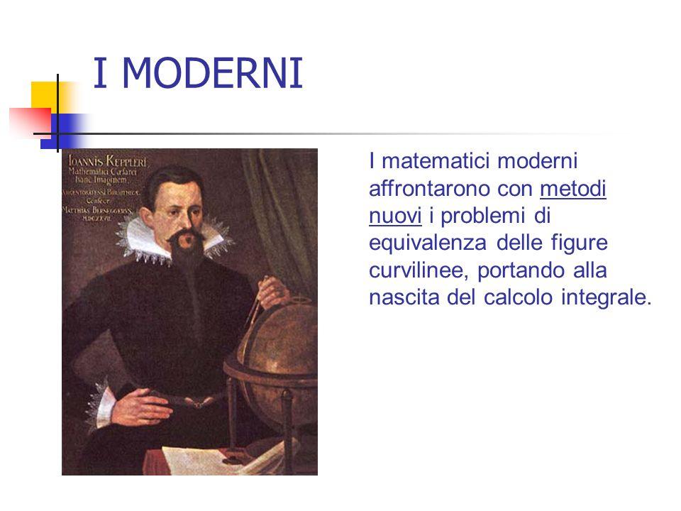 I MODERNI I matematici moderni affrontarono con metodi nuovi i problemi di equivalenza delle figure curvilinee, portando alla nascita del calcolo inte