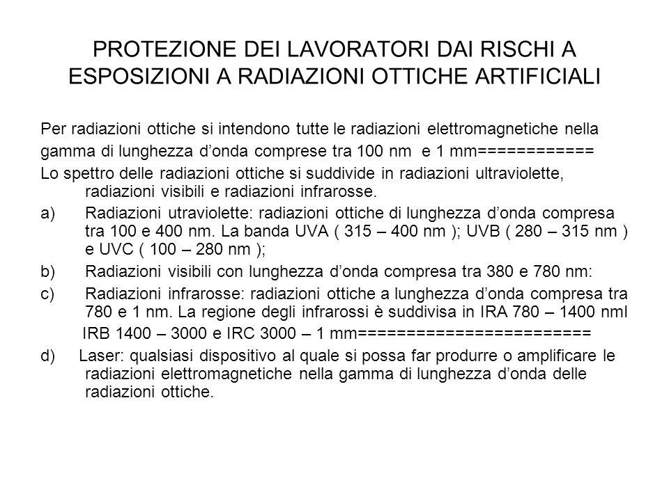 PROTEZIONE DEI LAVORATORI DAI RISCHI A ESPOSIZIONI A RADIAZIONI OTTICHE ARTIFICIALI Per radiazioni ottiche si intendono tutte le radiazioni elettromag