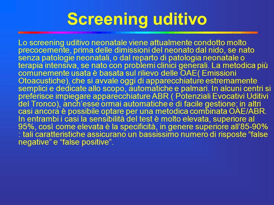 Screening uditivo Lo screening uditivo neonatale viene attualmente condotto molto precocemente, prima delle dimissioni del neonato dal nido, se nato s