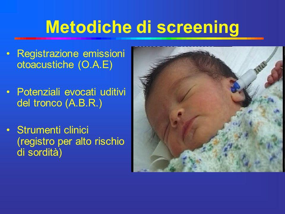Metodiche di screening Registrazione emissioni otoacustiche (O.A.E) Potenziali evocati uditivi del tronco (A.B.R.) Strumenti clinici (registro per alt