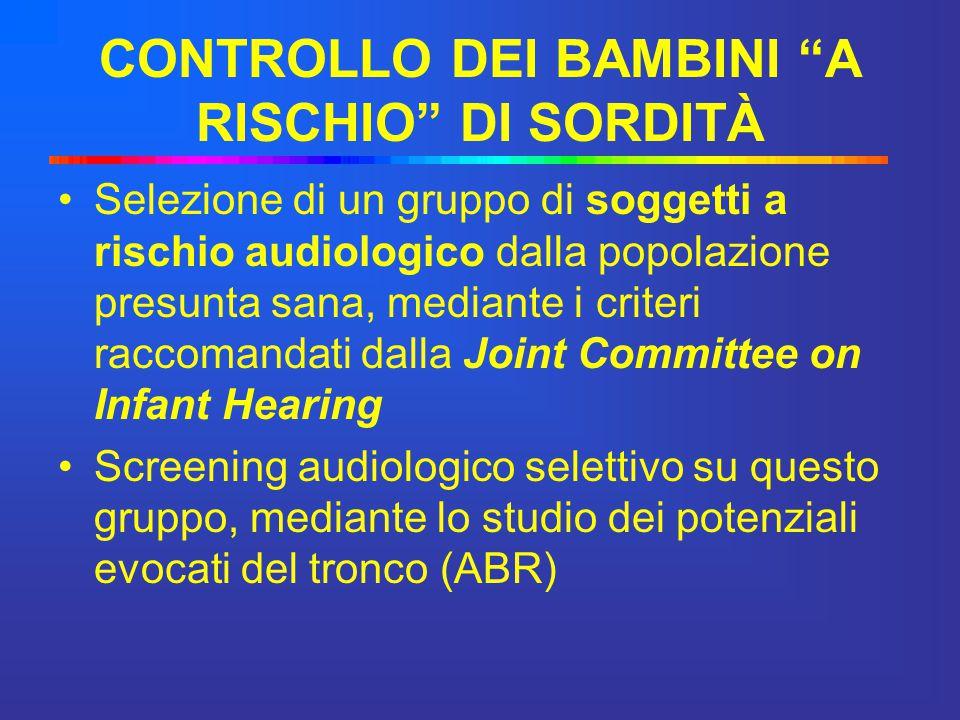"""CONTROLLO DEI BAMBINI """"A RISCHIO"""" DI SORDITÀ Selezione di un gruppo di soggetti a rischio audiologico dalla popolazione presunta sana, mediante i crit"""