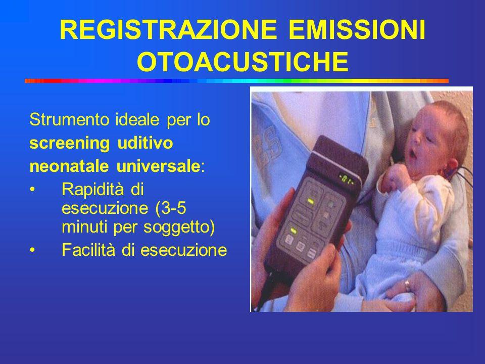 REGISTRAZIONE EMISSIONI OTOACUSTICHE Strumento ideale per lo screening uditivo neonatale universale: Rapidità di esecuzione (3-5 minuti per soggetto)