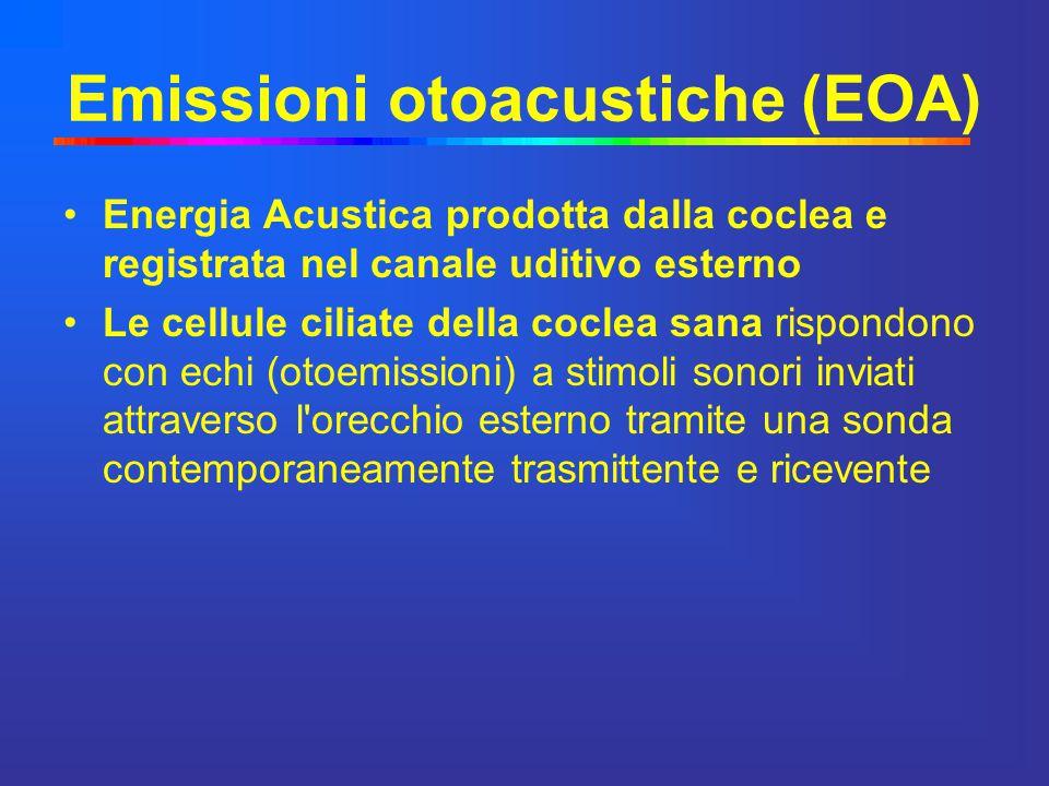 Emissioni otoacustiche (EOA) Energia Acustica prodotta dalla coclea e registrata nel canale uditivo esterno Le cellule ciliate della coclea sana rispo