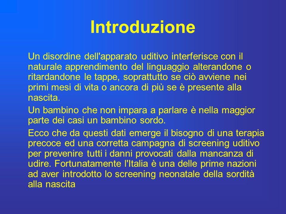 Introduzione Un disordine dell'apparato uditivo interferisce con il naturale apprendimento del linguaggio alterandone o ritardandone le tappe, sopratt