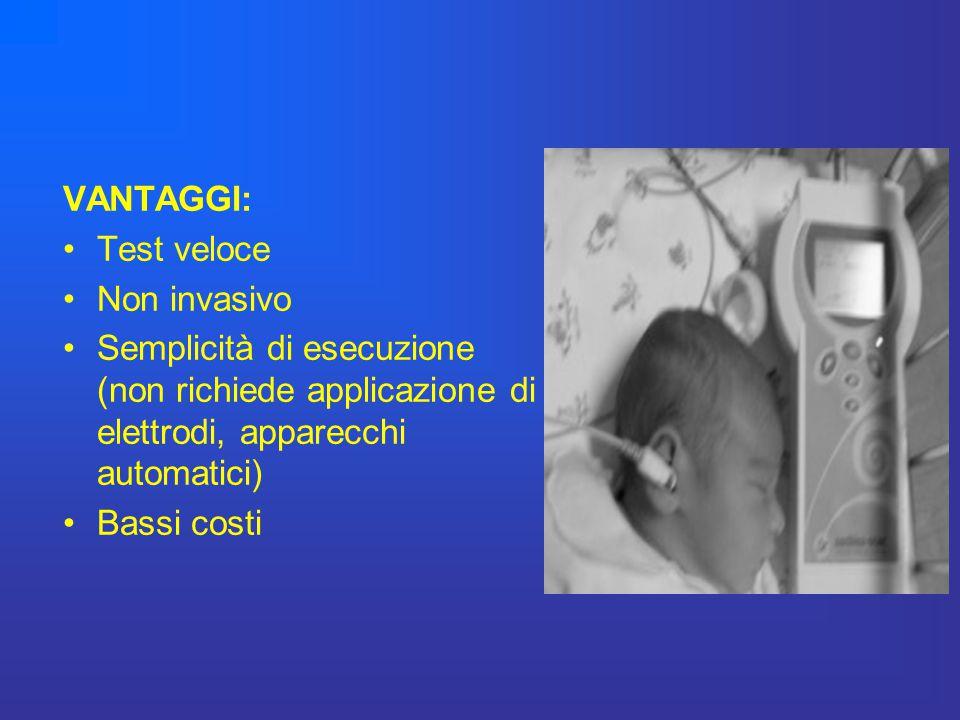 VANTAGGI: Test veloce Non invasivo Semplicità di esecuzione (non richiede applicazione di elettrodi, apparecchi automatici) Bassi costi