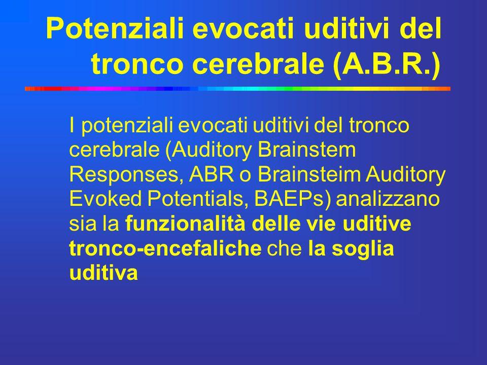 Sono costituiti da una serie di onde ( I, II, III, IV, V,VI) che si sviluppano entro 10 ms dall invio dello stimolo Rappresentano la risposta elettrica della via uditiva nella porzione compresa fra il nervo VIII (nervo acustico) ed il collicolo inferiore