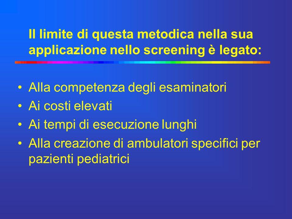 Il limite di questa metodica nella sua applicazione nello screening è legato: Alla competenza degli esaminatori Ai costi elevati Ai tempi di esecuzion