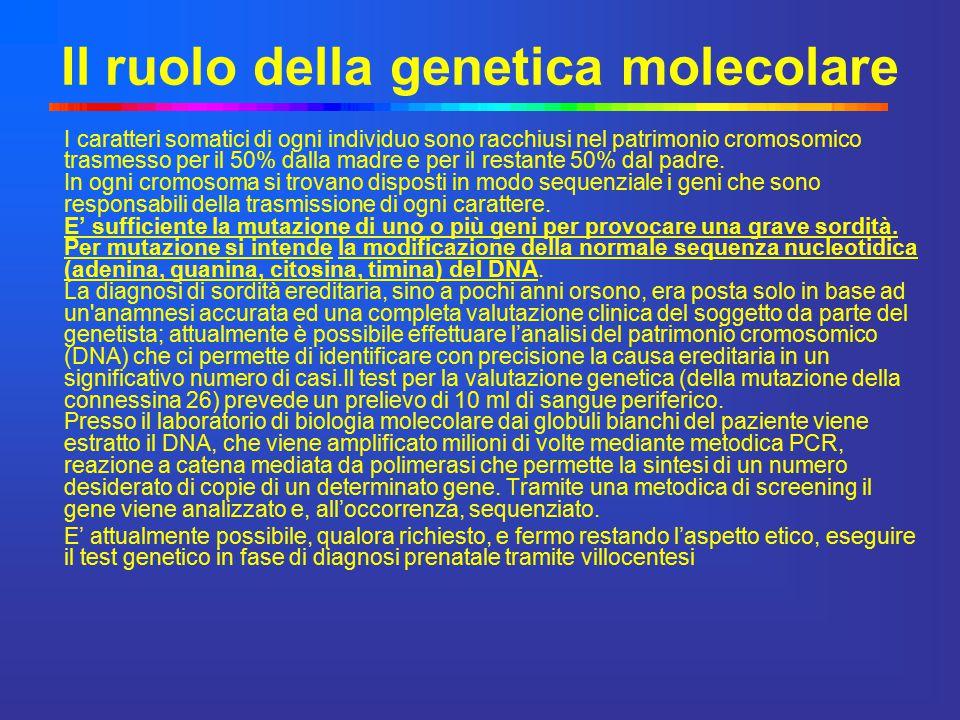 Teoria delle sordità genetiche Nell'ambito delle sordità sostenute da causa genetica, esiste un gene principale, la Connessina 26 o GJB2, sito sul braccio lungo del cromosoma 13, che presenta diverse mutazioni nei pazienti affetti da sordità.