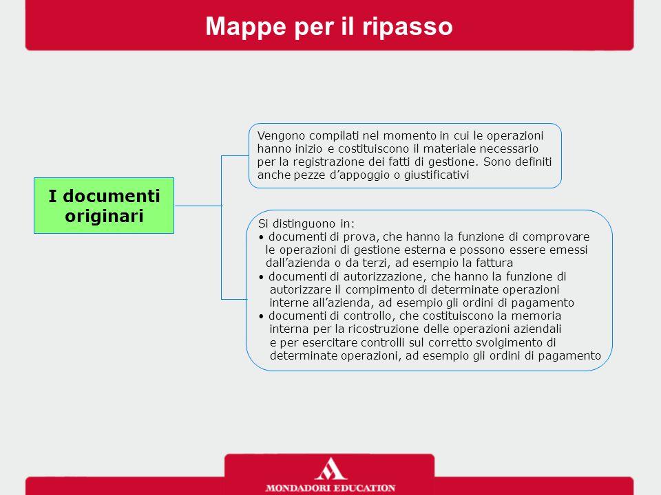 Mappe per il ripasso I documenti originari Si distinguono in: documenti di prova, che hanno la funzione di comprovare le operazioni di gestione estern