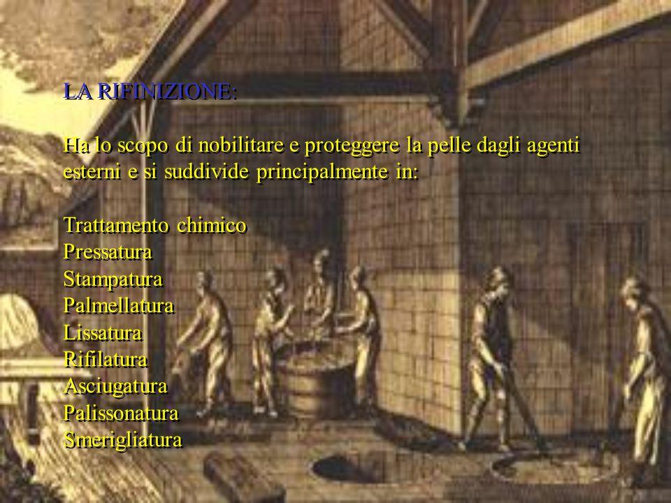 LA RIFINIZIONE: Ha lo scopo di nobilitare e proteggere la pelle dagli agenti esterni e si suddivide principalmente in: Trattamento chimico Pressatura