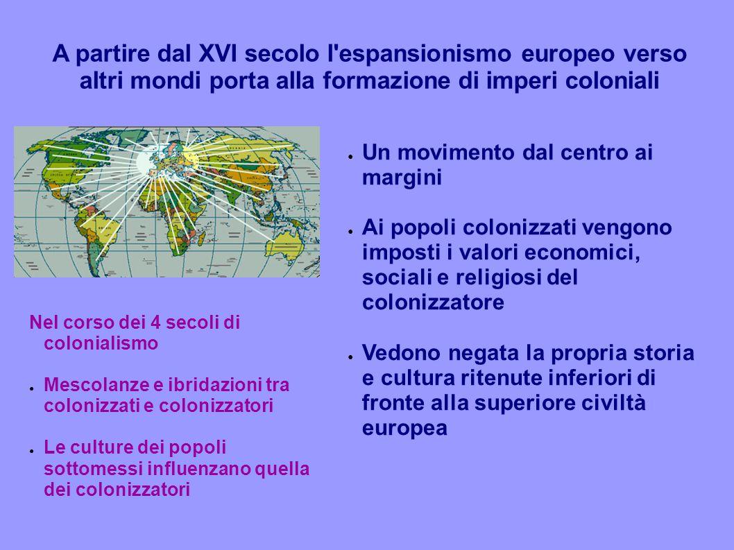 A partire dal XVI secolo l'espansionismo europeo verso altri mondi porta alla formazione di imperi coloniali ● Un movimento dal centro ai margini ● Ai