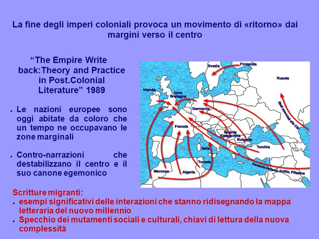 """La fine degli imperi coloniali provoca un movimento di «ritorno» dai margini verso il centro """"The Empire Write back:Theory and Practice in Post.Coloni"""