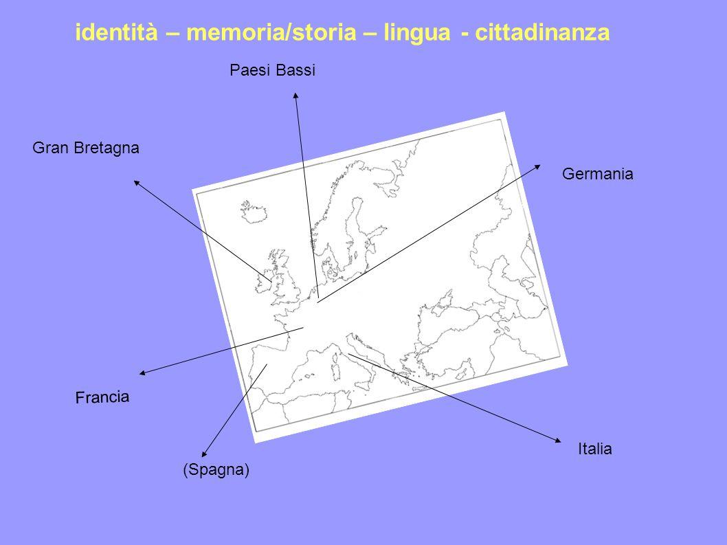 Paesi Bassi Germania Francia (Spagna) Italia Gran Bretagna identità – memoria/storia – lingua - cittadinanza