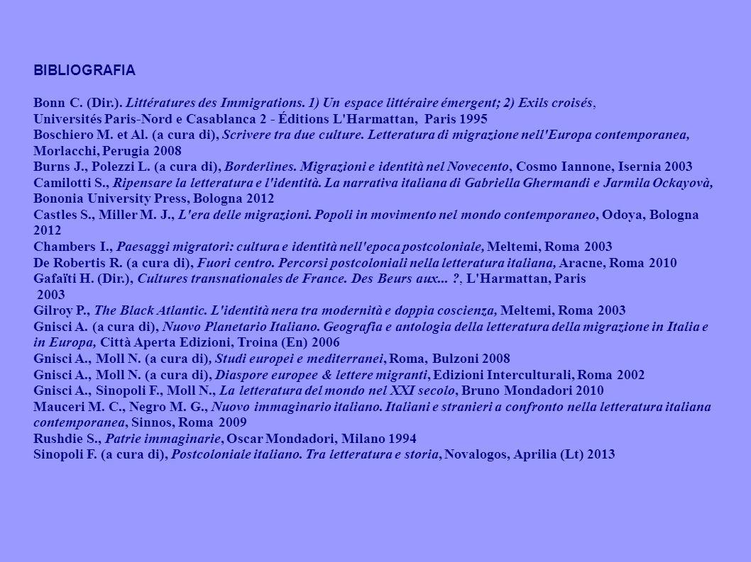 BIBLIOGRAFIA Bonn C. (Dir.). Littératures des Immigrations. 1) Un espace littéraire émergent; 2) Exils croisés, Universités Paris-Nord e Casablanca 2