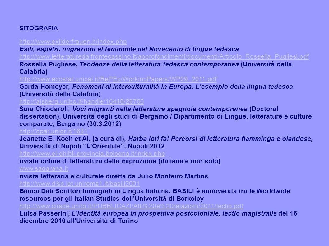 SITOGRAFIA http://www.exilderfrauen.it/index.php Esili, espatri, migrazioni al femminile nel Novecento di lingua tedesca http://www.letteraturedalfrontecassino.it/approfondimenti/documenti/Articolo_Rossella_Pugliesi.pdf Rossella Pugliese, Tendenze della letteratura tedesca contemporanea (Università della Calabria) http://www.ecostat.unical.it/RePEc/WorkingPapers/WP09_2011.pdf Gerda Homeyer, Fenomeni di interculturalità in Europa.
