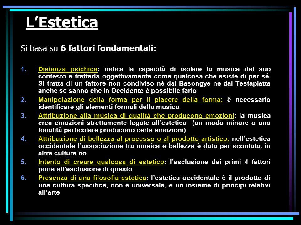 L'Estetica Si basa su 6 fattori fondamentali: 1.Distanza psichica: indica la capacità di isolare la musica dal suo contesto e trattarla oggettivamente