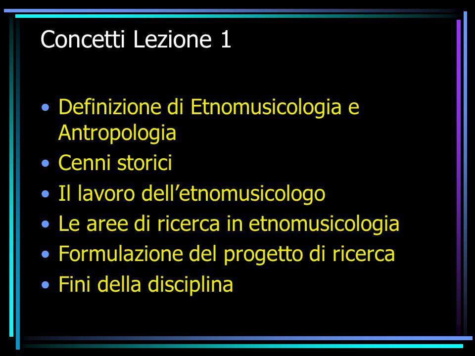 Concetti Lezione 1 Definizione di Etnomusicologia e Antropologia Cenni storici Il lavoro dell'etnomusicologo Le aree di ricerca in etnomusicologia For