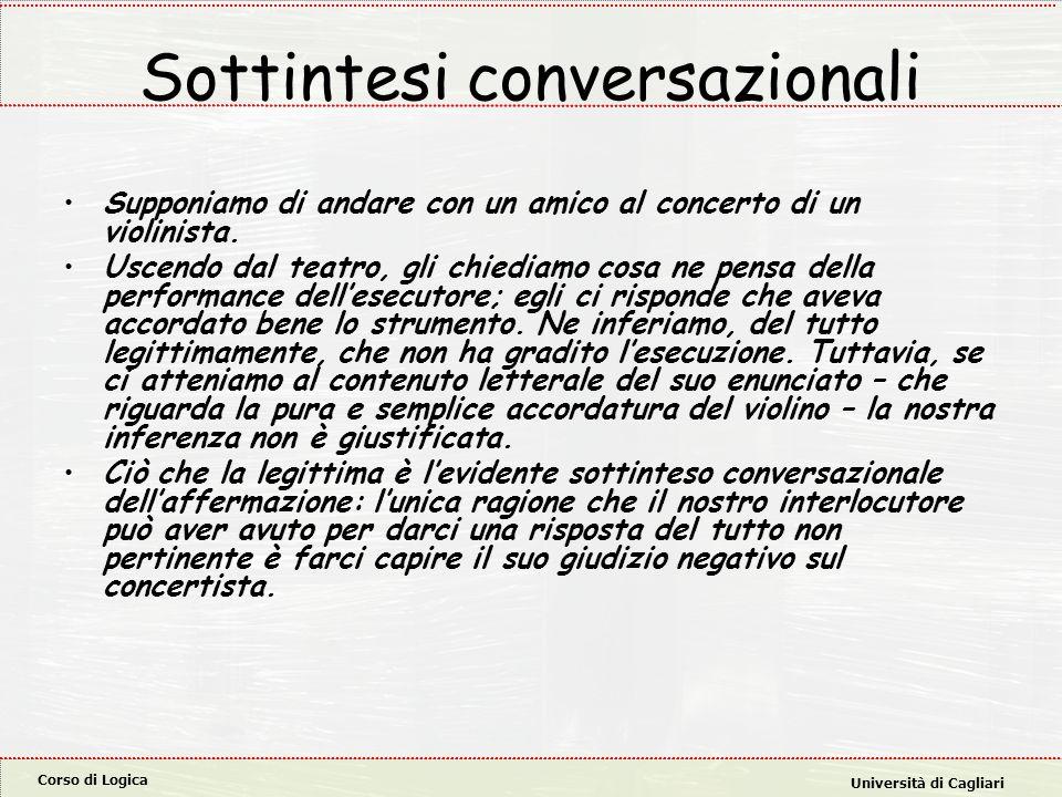 Corso di Logica Università di Cagliari Sottintesi conversazionali Supponiamo di andare con un amico al concerto di un violinista. Uscendo dal teatro,