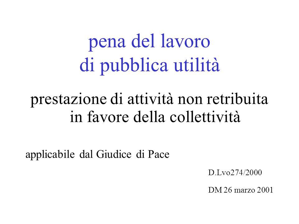pena del lavoro di pubblica utilità prestazione di attività non retribuita in favore della collettività applicabile dal Giudice di Pace D.Lvo274/2000