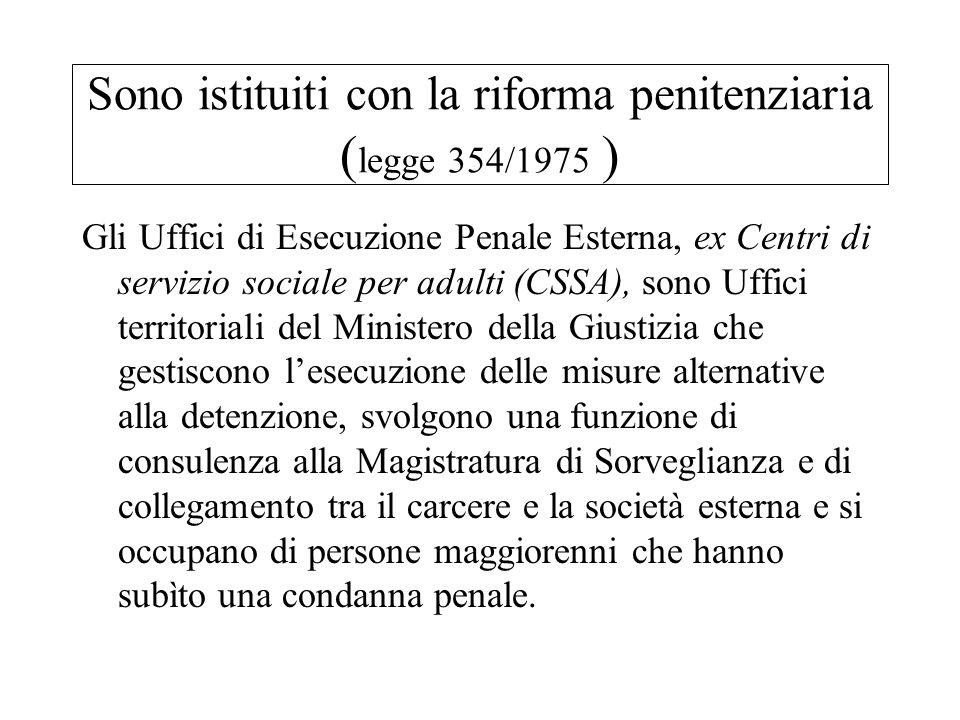 Sono istituiti con la riforma penitenziaria ( legge 354/1975 ) Gli Uffici di Esecuzione Penale Esterna, ex Centri di servizio sociale per adulti (CSSA