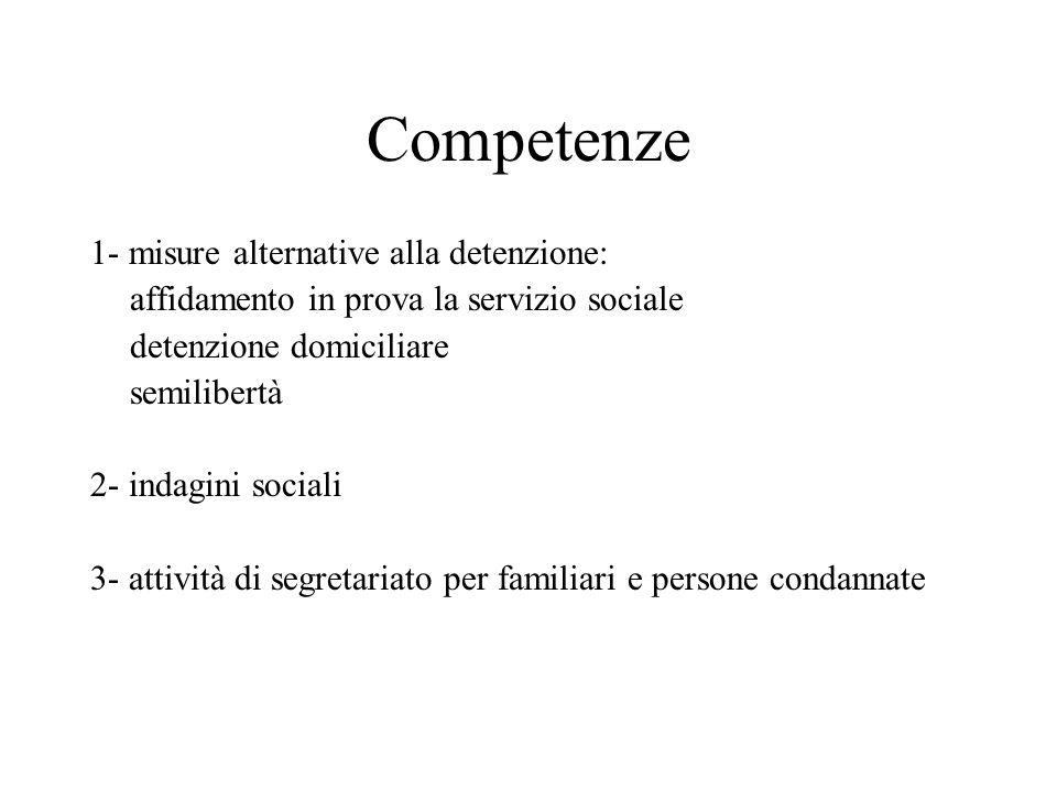 Competenze 1- misure alternative alla detenzione: affidamento in prova la servizio sociale detenzione domiciliare semilibertà 2- indagini sociali 3- a