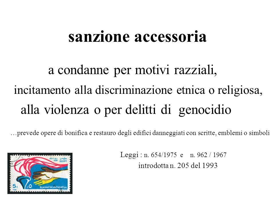 sanzione accessoria a condanne per motivi razziali, incitamento alla discriminazione etnica o religiosa, alla violenza o per delitti di genocidio …pre
