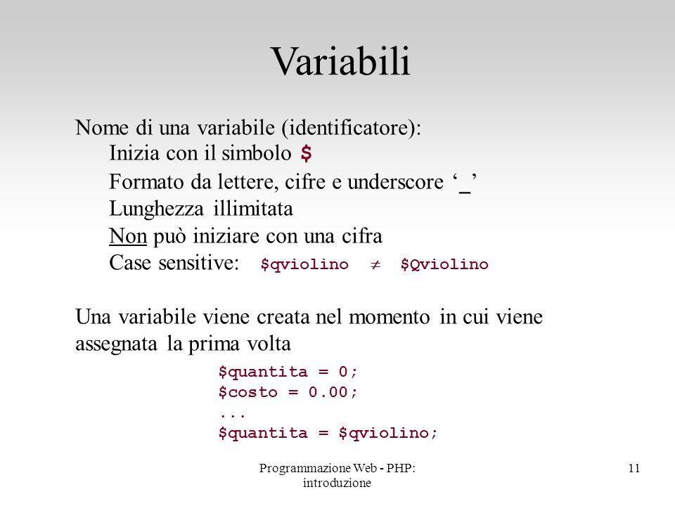 Nome di una variabile (identificatore): Inizia con il simbolo $ Formato da lettere, cifre e underscore '_' Lunghezza illimitata Non può iniziare con u