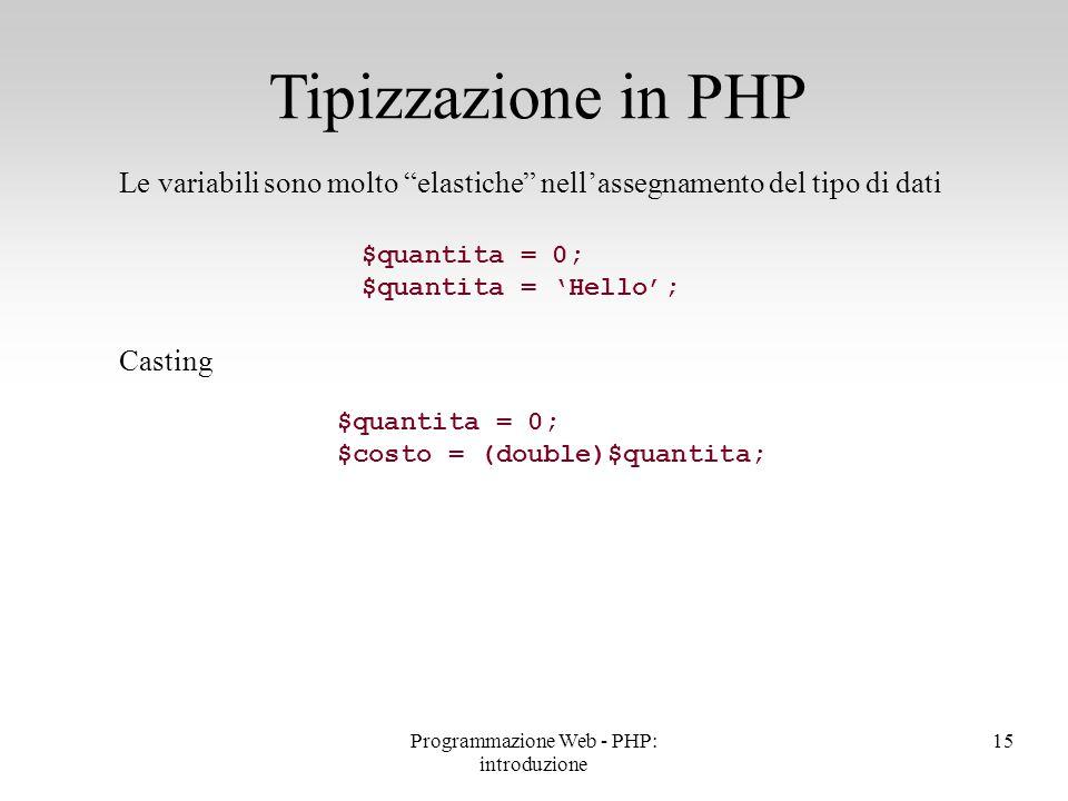 """Le variabili sono molto """"elastiche"""" nell'assegnamento del tipo di dati Casting Tipizzazione in PHP $quantita = 0; $quantita = 'Hello'; $quantita = 0;"""