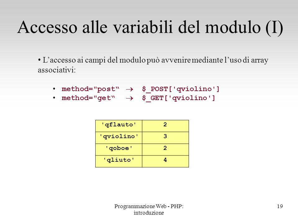 L'accesso ai campi del modulo può avvenire mediante l'uso di array associativi: method=