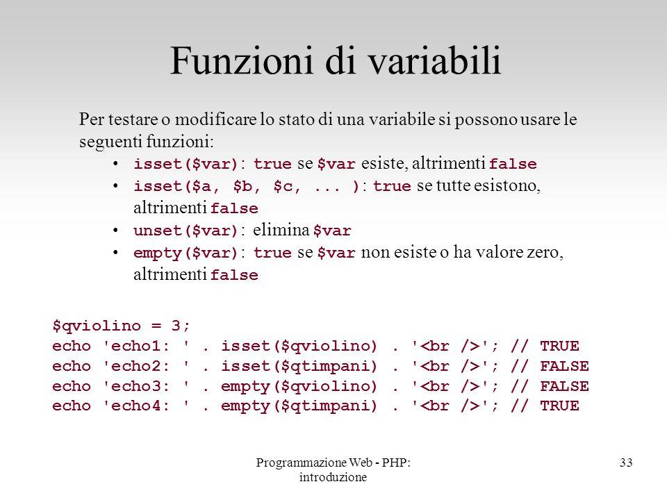 Per testare o modificare lo stato di una variabile si possono usare le seguenti funzioni: isset($var) : true se $var esiste, altrimenti false isset($a