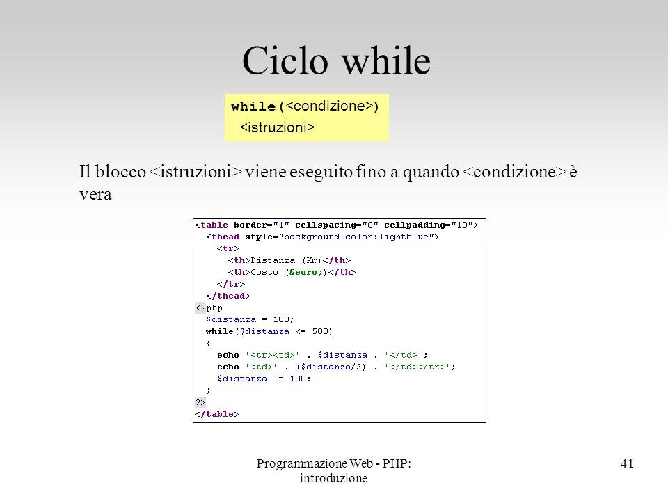 Il blocco viene eseguito fino a quando è vera Ciclo while while( ) 41Programmazione Web - PHP: introduzione