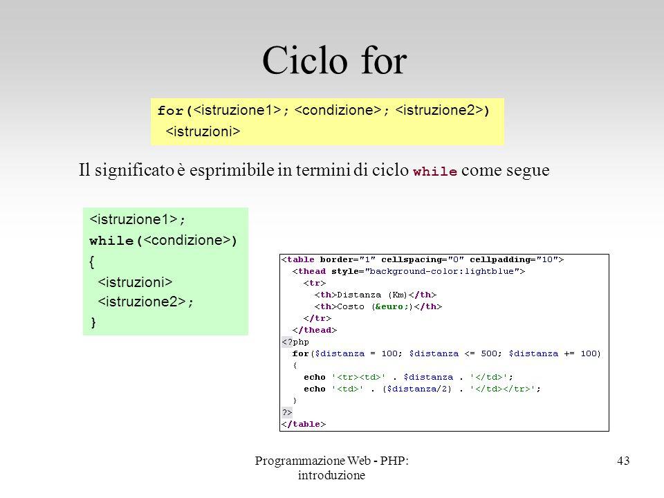 Il significato è esprimibile in termini di ciclo while come segue Ciclo for for( ; ; ) ; while( ) { ; } 43Programmazione Web - PHP: introduzione