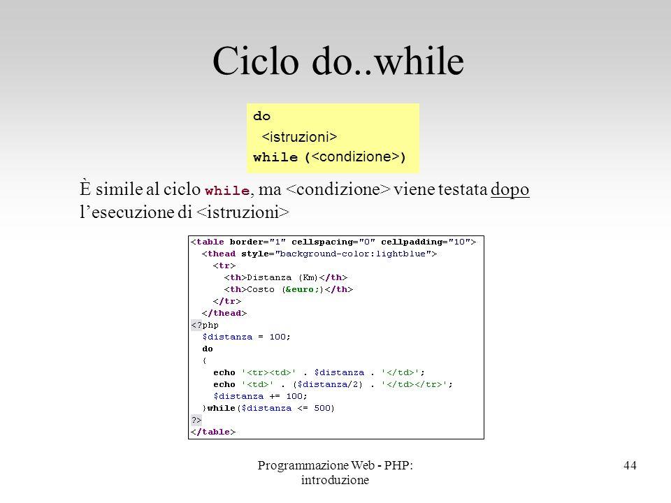 È simile al ciclo while, ma viene testata dopo l'esecuzione di Ciclo do..while do while ( ) 44Programmazione Web - PHP: introduzione