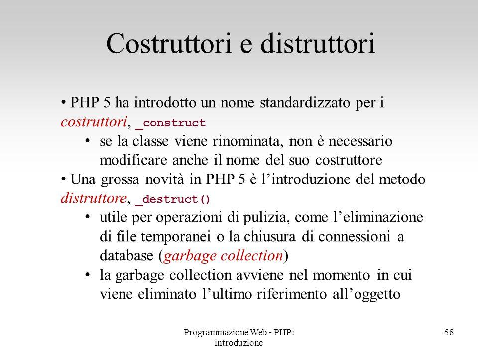 PHP 5 ha introdotto un nome standardizzato per i costruttori, _construct se la classe viene rinominata, non è necessario modificare anche il nome del