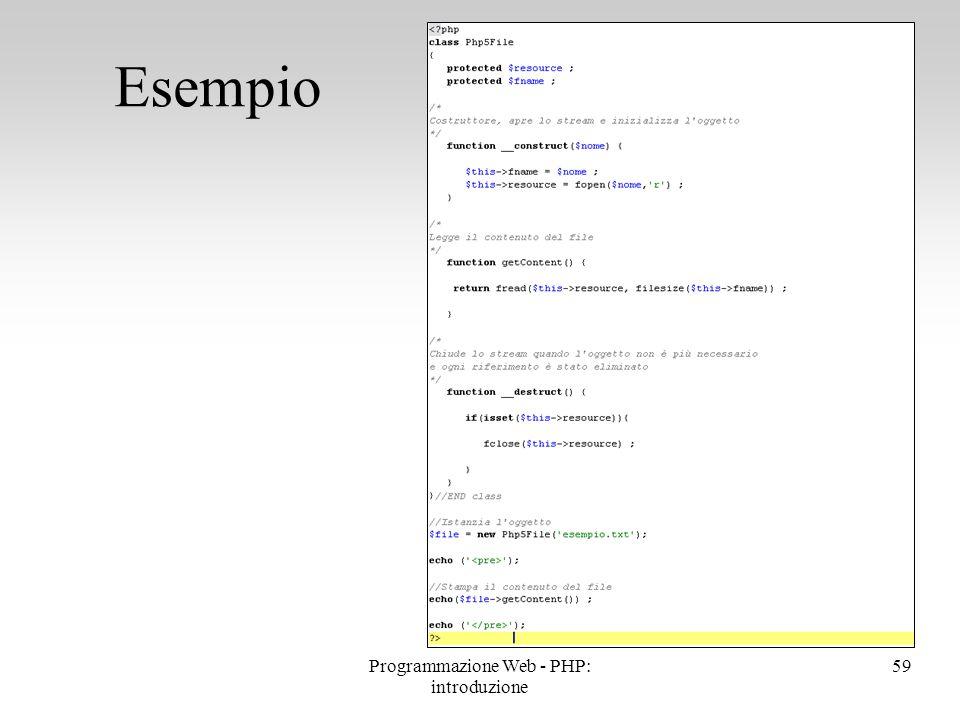 Esempio 59Programmazione Web - PHP: introduzione