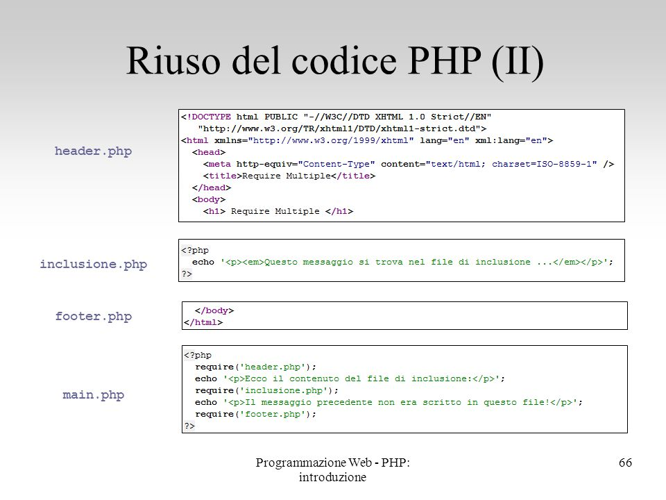Riuso del codice PHP (II) 66 inclusione.php main.php header.php footer.php Programmazione Web - PHP: introduzione