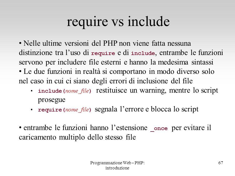 Nelle ultime versioni del PHP non viene fatta nessuna distinzione tra l'uso di require e di include, entrambe le funzioni servono per includere file e