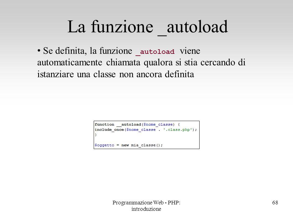 Se definita, la funzione _autoload viene automaticamente chiamata qualora si stia cercando di istanziare una classe non ancora definita La funzione _a